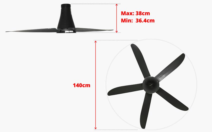 thông số kỹ thuật kích thước quạt trần mitsubishi 5 cánh đen xám