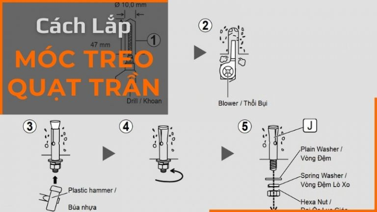 cách lắp móc treo quạt trần un8 va un10.